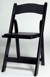 Black Birch Wood Padded Folding Chair with Vinyl Seat [WFBLK-AS]