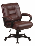 Work Smart Deluxe Mid-Back Executive Leather Chair with Padded Loop Arms [EX5161-FS-OS]
