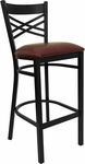 Black ''X'' Back Metal Restaurant Bar Stool with Burgundy Vinyl Seat [BFDH-6147BYBAR-TDR]