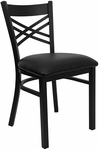 Black ''X'' Back Metal Restaurant Chair with Black Vinyl Seat [BFDH-6147BK-TDR]