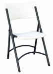 Armless Plastic Folding Chair with Charcoal Steel Frame - Gray Granite Seat and Back [RC400-33-CRL]