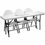 Standard Fixed Height Blow-Molded Plastic Top Rectangular Folding Table - 24''D x 48''W [R2448-CRL]