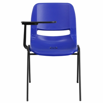 Blue Ergonomic Shell Chair With Right Handed Flip Up Tablet Arm RUT EO1 BL R