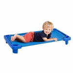 Blue Fully Assembled Single Toddler Stackable Streamline Cot - 40''D x 23''W x 5''H [ELR-16124-ECR]