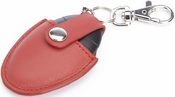 Bluetooth Tracking Smart Tag with Key Fob Organizer - Top Grain Nappa Leather Case - Red