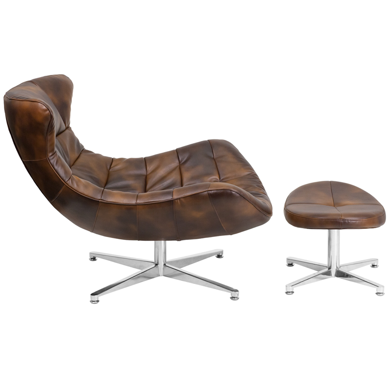 Bomber Jacket Leather Cocoon Chair with Ottoman, ZB-43-COCOON-GG by