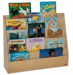 Book Display Stand with Five Sloping Hardboard Shelves on Front and Four Shelves on Rear - Assembled - 30''W x 11''D x 29''H [34300-WDD]
