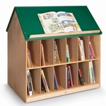 Book House with Green Roof and 12 Book Storage Openings on Both Sides [WB1042-FS-WBR]