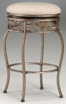 Bordeaux Metal 30'' Bar Height Backless Stool with Off-White Fabric Swivel Seat - Bronze Pewter [4358-831-FS-HILL]