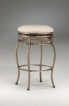 Bordeaux Metal 26'' Counter Height Backless Stool with Off-White Fabric Swivel Seat - Bronze Pewter [4358-827-FS-HILL]
