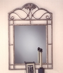 Bordeaux Powder Coated Metal 28''W x 42.25''H Console Mirror - Pewter and Bronze Highlights [40543-FS-HILL]
