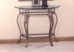 Bordeaux Metal 36''W x 29''H Console Table with Glass Top - Pewter and Bronze Highlights [40544OC-FS-HILL]