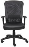 Genuine Leather Boss Web Chair with Adjustable Tension Mesh Back - Black [B580-FS-BOSS]