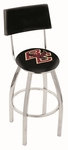 Boston College 25'' Chrome Finish Swivel Counter Height Stool with Cushioned Back [L8C425BOSTNC-FS-HOB]