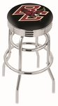 Boston College 25'' Chrome Finish Double Ring Swivel Backless Counter Height Stool with Ribbed Accent Ring [L7C3C25BOSTNC-FS-HOB]