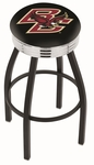 Boston College 25'' Black Wrinkle Finish Swivel Backless Counter Height Stool with Ribbed Accent Ring [L8B3C25BOSTNC-FS-HOB]