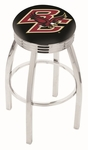 Boston College 25'' Chrome Finish Swivel Backless Counter Height Stool with 2.5'' Ribbed Accent Ring [L8C3C25BOSTNC-FS-HOB]