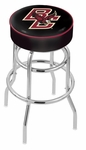 Boston College 25'' Chrome Finish Double Ring Swivel Backless Counter Height Stool with 4'' Thick Seat [L7C125BOSTNC-FS-HOB]