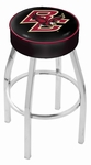 Boston College 25'' Chrome Finish Swivel Backless Counter Height Stool with 4'' Thick Seat [L8C125BOSTNC-FS-HOB]