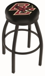 Boston College 25'' Black Wrinkle Finish Swivel Backless Counter Height Stool with Accent Ring [L8B2B25BOSTNC-FS-HOB]
