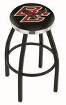 Boston College 25'' Black Wrinkle Finish Swivel Backless Counter Height Stool with Chrome Accent Ring [L8B2C25BOSTNC-FS-HOB]