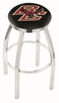 Boston College 25'' Chrome Finish Swivel Backless Counter Height Stool with Accent Ring [L8C2C25BOSTNC-FS-HOB]