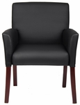Mid Back Box Arm Guest Chair - Black Caressoft™ with Mahogany Legs [B619-FS-BOSS]
