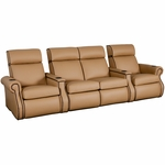Bradford Four Seater Home Theater - Straight Arm in Top Grain Leather [530-BRADFORD-S4-FS-LTS]
