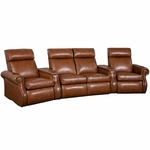 Bradford Four Seater Home Theater - Wedge Arm in Bonded Leather [510-BRADFORD-W4-FS-LTS]