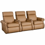 Bradford Three Seater Home Theater - Straight Arm in Top Grain Leather [530-BRADFORD-S3-FS-LTS]