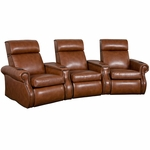 Bradford Three Seater Home Theater - Wedge Arm in Bonded Leather [510-BRADFORD-W3-FS-LTS]
