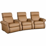 Bradford Three Seater Home Theater - Wedge Arm in Top Grain Leather [530-BRADFORD-W3-FS-LTS]
