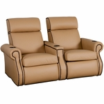Bradford Two Seater Home Theater - Straight Arm in Top Grain Leather [530-BRADFORD-S2-FS-LTS]