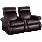 Bradford Two Seater Home Theater - Straight Arm in Top Grain Leather with Leather Match [520-BRADFORD-S2-FS-LTS]