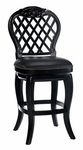 Braxton Wood 26'' Counter Height Stool with Black Leather Swivel Seat - Black Honey [61919-FS-HILL]