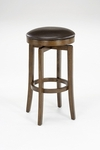 Brendan Wood 25'' Counter Height Backless Stool with Brown Vinyl Swivel Seat - Brown Cherry [63452-826-FS-HILL]