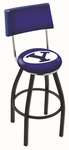 Brigham Young University 25'' Black Wrinkle Finish Swivel Counter Height Stool with Cushioned Back [L8B425BRIGYN-FS-HOB]