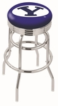 Brigham Young University 25'' Chrome Finish Double Ring Swivel Backless Counter Height Stool with Ribbed Accent Ring [L7C3C25BRIGYN-FS-HOB]