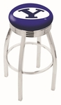 Brigham Young University 25'' Chrome Finish Swivel Backless Counter Height Stool with 2.5'' Ribbed Accent Ring [L8C3C25BRIGYN-FS-HOB]