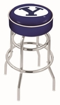 Brigham Young University 25'' Chrome Finish Double Ring Swivel Backless Counter Height Stool with 4'' Thick Seat [L7C125BRIGYN-FS-HOB]