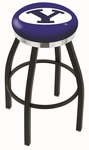 Brigham Young University 25'' Black Wrinkle Finish Swivel Backless Counter Height Stool with Chrome Accent Ring [L8B2C25BRIGYN-FS-HOB]