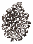 Bright Nickel Lattice Leaf Ceramic Fruit Bowl/Wall Sculpture [34099-FS-HEC]
