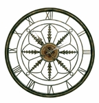 Aged Bronze Metal Circular Clock 25.5''H Wall Decor with Roman Numerals [2514-FS-PAS]