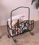 Bronze Oil Rubbed Metal 20''H Magazine Rack with Copper Details [2332-FS-PAS]
