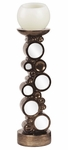 Bronze with Mirrored Accents Candleholder [97001-FS-HEC]