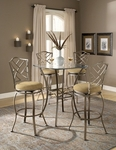 Hanover 3 Piece Bistro Set with 36'' Diameter Metal and Glass Table and 2 Chairs - Brown [4815PTBSHR3-FS-HILL]