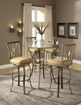 Brookside 5 Piece Bistro Set with 36'' Diameter Metal and Glass Table and 4 Chairs - Brown [4815PTBSDM5-FS-HILL]