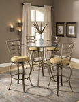 Marin 5 Piece Bistro Set with Bar Height Table and 4 Bar Stools - Brown [4815PTBSMN5-FS-HILL]