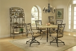 Brookside 5 Piece Dining Set with Round Table and 4 Oval Back Caster Chairs - Brown [4815DTRNBCOVC-FS-HILL]