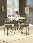 Brookside Powder Coated Metal and Stone 45'' Diameter Round Counter Height Dining Table - Brown [4815DTBG-FS-HILL]